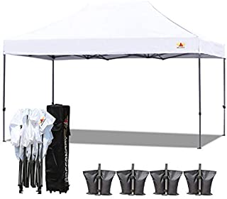 ABCCANOPY 18+ Colors 10x15 Pop up Tent Instant Canopy Commercial Outdoor Canopy with Wheeled Carry Bag Bonus 4X Weight Bag (White)
