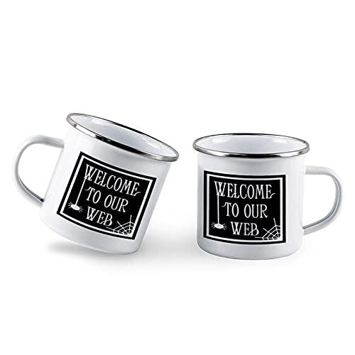 Welcome to Our Web, Halloween Vector Decor Campfire esmalte taza Set de 2 tazas de café de esmalte blanco de 10 onzas para Halloween, Acción de Gracias, otoño y parejas, taza personalizada