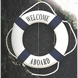 HS Blue/White Welcome Aboard Decorative Life Ring