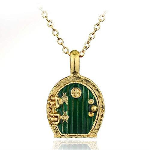YOUZYHG co.,ltd Collar con Colgante de medallón de Puerta Verde con Colgante para Hombres y Mujeres, joyería Vintage, Collar Chapado en Oro, Regalo