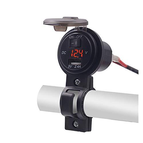 shiqi Cargador USB del teléfono de la Motocicleta con el Interruptor Impermeable 2.4A Voltímetro Digital Voltímetro 12V-24V Cargador de Motocicletas de la Bote F-Mejor (Color : Red)