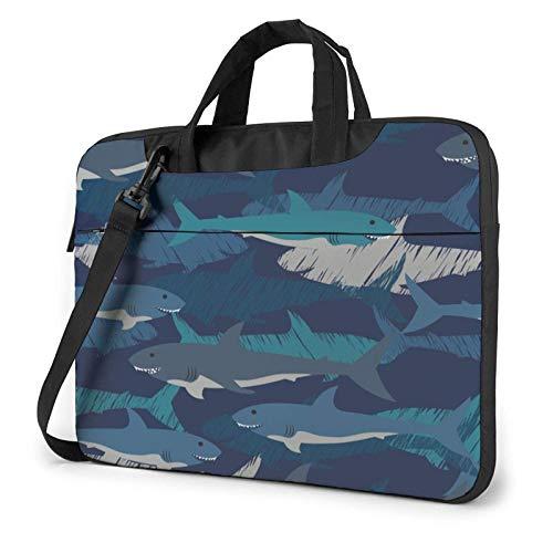 Maletín Funda para Ordenador Portátil Tela Escocesa Azul de Dibujos Animados de Tiburones Portadocumentos Maletines y Bolso Bandolera para Portátil 15.6 Pulgadas