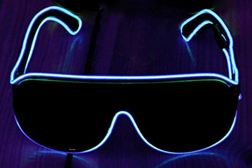 Ucult Soundsensitive EL-Brille Leuchtbrille Blinkbrille Clubbrille LED Brille (Blau)