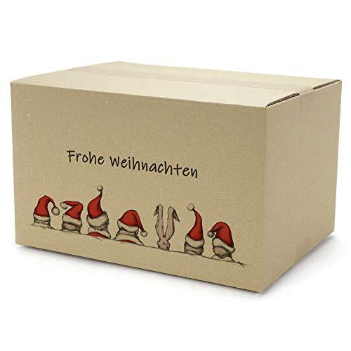 Weihnachts Geschenkkorb im Weihnachts-Karton - Leckerer Präsentkorb zu Weihnachten inkl. Bastkorb mit Heu, Weihnachtsfruchtaufstrich, Weihnachtslikör, Glühweinfruchtaufstrich, Deutscher Waldhonig
