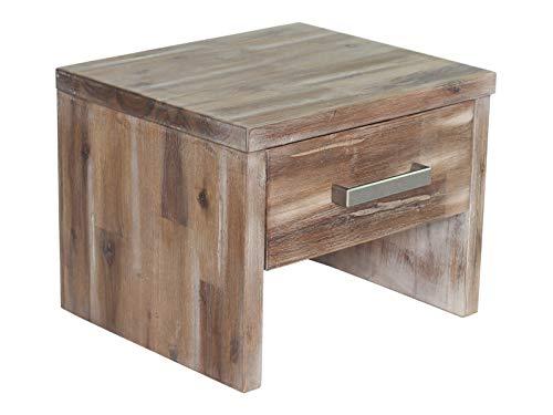 Woodkings® Nachttisch Albury Natur Schlafzimmer Massivholz Beistelltisch Nachtkommode Design Massive Naturmöbel Echtholzmöbel günstig (Akazie Rustic)