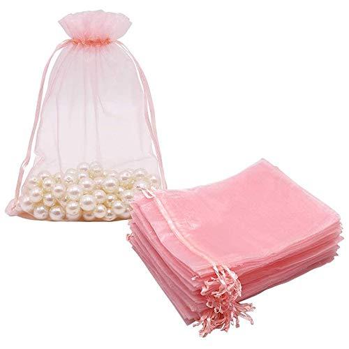 Fransande 100 bolsas grandes de organza rosa rubor, 17 x 23 cm, bolsas de regalo de malla con cordón para joyería de Navidad y boda