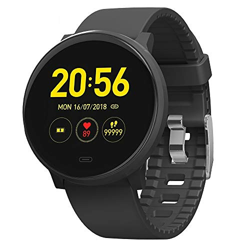 V15c Ultra Light IP68 Waterproof Sports Watch, Built-in GPS Non-Contact, Heart Rate Health Monitoring Round Smart Watch ?Black?