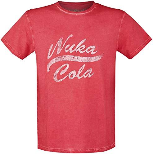 Fallout Nuka Cola Vintage Hombre Camiseta Rojo S, 100% algodón, Regular