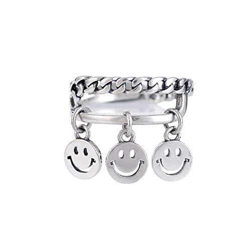 Yiyiyya Damen-Ring, verstellbar, modisch, 925er Sterlingsilber, Thai-Silber, drei Smiley-Anhänger, Form, verstellbar, Schmuck, einfache Freunde, Geburtstagsparty