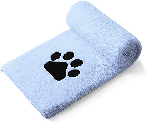 Perco ペット用タオル 超吸水 厚手 マイクロファイバー 犬 猫 体拭き (75cmx127cm, ライトブルー)