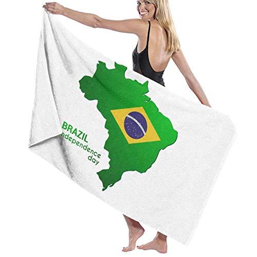 LREFON Mapa del Día de la Independencia de Brasil Toallas de baño Moda Toalla de Ducha de Secado rápido Personalidad Toalla de Playa Suave para Nadar (31.5X51.2 Pulgadas)