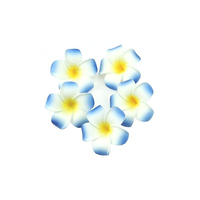 silk flower arrangements ewanda store 100 pcs diameter 1.6 inch artificial plumeria rubra hawaiian foam frangipani flower petals for weddings party decoration(blue)
