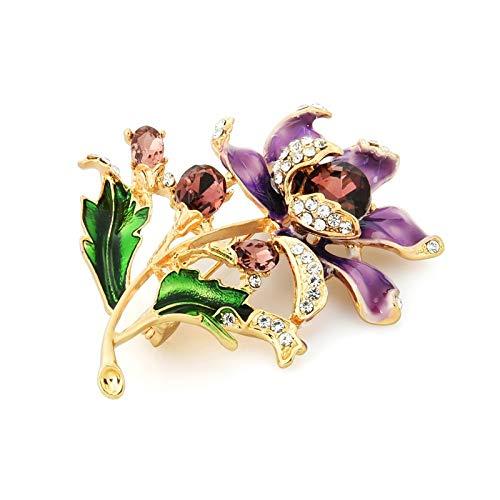 Broche de flores de esmalte púrpura para mujer, boda, fiesta, casual, regalos