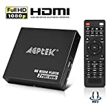 AGPTEK Media Player HD Media Player Mini HD TV Player USB 1080P HDMI AV Player - MKV / RM-SD / USB HDD-HDMI, CVBS HDMI Support y YPbPr Video Output con Control Remoto y 5V 2A Adapter (Negro)