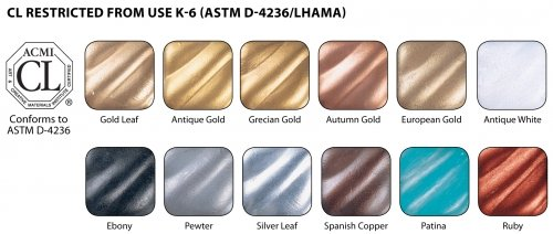 Amaco Rub N Buff Wax Metallic Finishes 12 Color Sampler Set,assortment