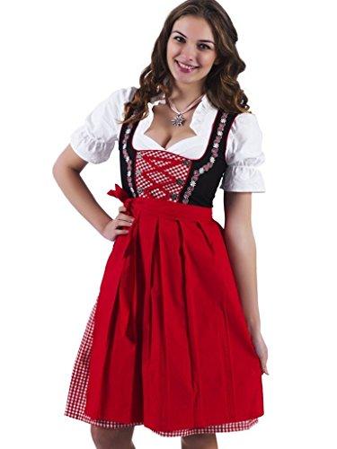 Alpenmärchen, 3tlg. Dirndl-Set - Trachtenkleid, Bluse, Schürze, Gr.46, schwarz-rot 1, ALM733