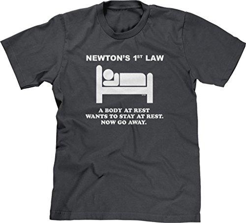 Blittzen Mens Newton's 1st Law - Now Go Away, L, Charcoal