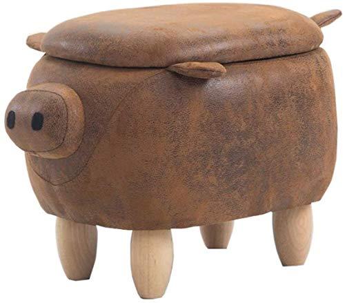 FZWAI Creative varken kids dieren schoenen bankje bank kruk thuis kleine houten kruk massief houten bank kruk