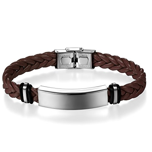 JewelryWe Schmuck Herren Damen Geflochten Leder Armband Armreif mit Edelstahl-Schild Lederarmband braun Gravur