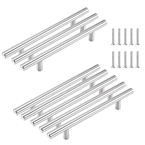 CYSJ 8pcs Manijas en Forma de T en Acero Inoxidable,cepillado con tornillos de montaje cepillado para puerta de armario,cajón,armario Tirador para muebles