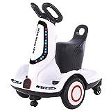 MYHH - Balanza eléctrica para niños con doble núcleo, 4 ruedas y patinete eléctrico de cuatro ruedas, tapón CN, Estilo: Versión remota (color blanco)