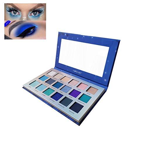 18 Colors Eyeshadow Makeup Palette, YMH BEAUTE Shimmer Matte Eyeshadow Palette Pigmented Blue Eye Shadows Long Lasting Waterproof Colorful Eyeshadow Pallet (DREAM)