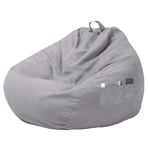 miuline, Großer Sitzsackbezug für Sofa und Couch, ohne Füllung, Lazy Lounger mit hoher Rückenlehne, Sitzsackbezug mit drei Seitentaschen für Erwachsene und Kinder
