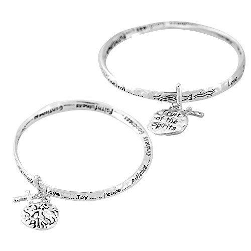Dicksons Love Joy Peace Fruits of The Spirit Women's Silver-Plated Hammered Mobius Bangle Charm Bracelet