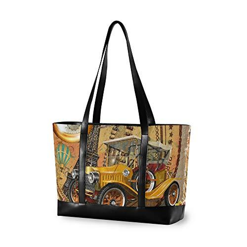 RELEESSS - Bolso para portátil con diseño vintage de la Torre Eiffel, bolso de hombro para mujer, señoras y niñas