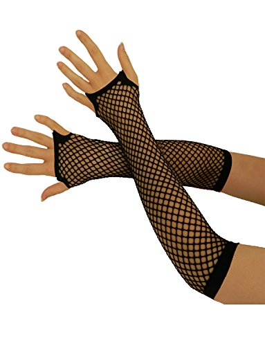 Yummy Bee Fingerlose Netzhandschuhe Lang Kurz Damen Burleskes Kostüm 80er (Schwarz, Lang)