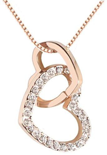 Quadiva G – Collar con cadena y colgante de corazón (color: oro rosa) decorado con cristales brillantes de Swarovski