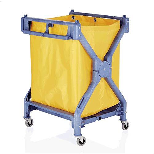 Faimex, waswagen, inklapbare wasverzamelaar, wasgoed-sorteerder, wasmand op wieltjes, wasmand, wagen, met waszak, rolwagen, voor vuile was, sorteerder, stabiel, vierhoekig, trolley XL Loundry