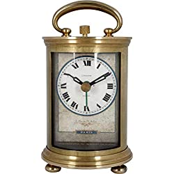JUSTIME Solid Brass Parisian Carrige Antique Collectible Analog Table Desk Alarm Clock for Gift, Home Decor, Battery Operated (Small)