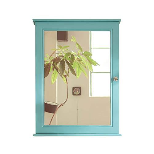 Armoire De Toilette Avec Porte Miroir Armoire De Toilette Salle De Bain En Bois Massif (Color : Green, Size : 50 * 15 * 80cm)