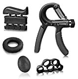5 Pack Hand Grip Strengthener Workout Kit Adjustable Hand Gripper(11-132lbs), Finger Exerciser, Finger