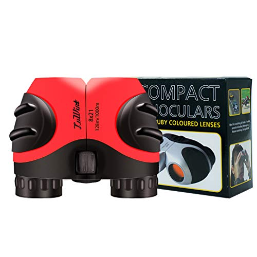 Luwint 8x21 Binoculars for Kids, Compact and Image Stabilized (red Black)