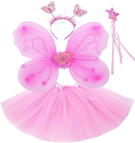 Fun Play Feen kostüm Kinder für Mädchen - Schmetterlingsflügel Kinder Tutu Zauberstab und Haarreifen - Schmetterlingsverkleidungen - Engelsflügel für Mädchen 3-8 Jahre alt - Farbe Rosa