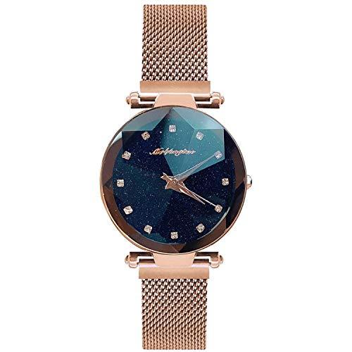RORIOS Mujer Relojes de Pulsera Cielo Estrellado Simulado Diamante Dial Mesh Bracelet Band Relojes de Dama Ladies Watches
