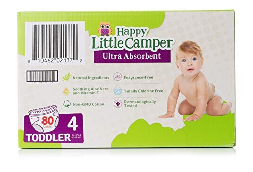 Happy Little Camper Ultra Absorbent Premium Natural Diapers, Size 4, 80 Count