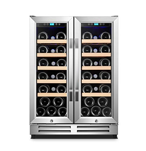 Karcassin 24 inch Wine Cooler Refrigerator – Compressor Wine Chiller – Dual Temp Zones wine fridge for Red & White – Stores upto 36 Bottles – Silent with Low Vibrations – Freestanding or Built-in