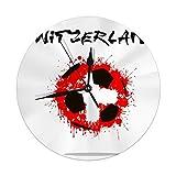 Night Ing Reloj de Pared Redondo Balón de fútbol Abstracto Bandera de Suiza