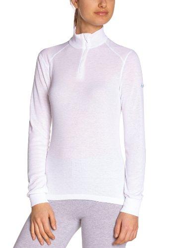 Odlo Damen BL TOP Turtle Neck l/s Half Zip Active WARM Unterhemd, White, L