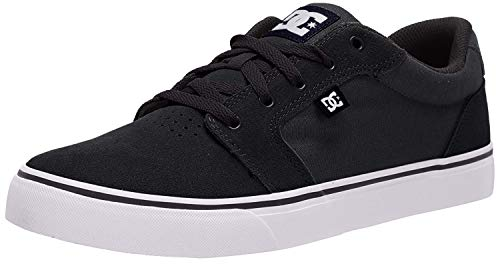 DC Men's Anvil Skateboarding Shoe, Black/White/Black, 9 D US