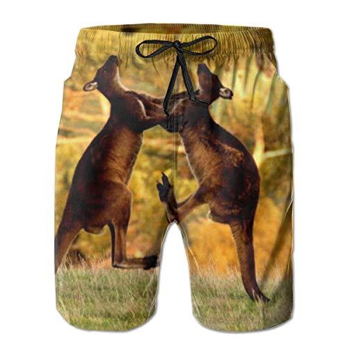 LREFON Pantalones Cortos de Playa de Secado rápido para Hombres Fighting K-an-ga-Roo Forro de Malla Surf Bañadores con Tasche 2XL