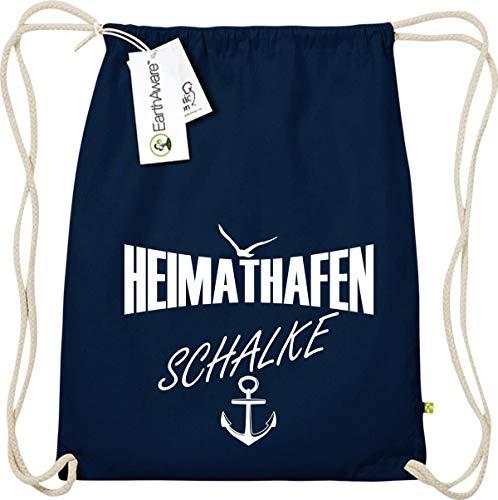 Shirtstown Gymsack, Heimathafen Schalke, Bio Fairtrade, Sprüche Spruch Logo Motiv, Turnbeutel Tasche Sport Beutel, Farbe blau