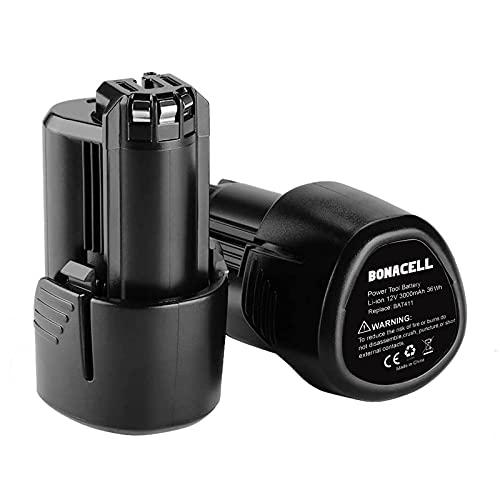 Bonacell 2Pack 3.0Ah Replacement Battery Compatible with Bosch 12V/10.8V LithiumBattery BAT411 BAT420 BAT411A BAT412