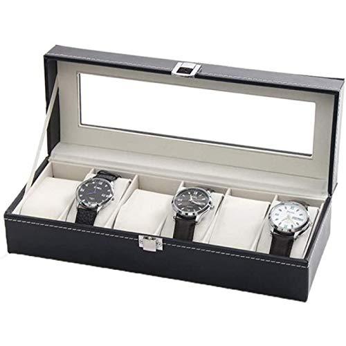 ZHANG Caja de Reloj 6 Caja de Almacenamiento de Exhibición de Reloj Soporte Organizador Caja de Colección de Joyas de Cuero para La Tienda en Casa