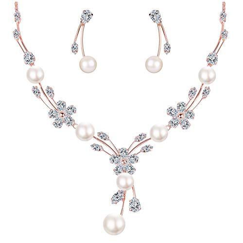 Mondora Donna's CZ Colore dell'avorio Perla simulata Rose Fiore Sposa Collane Orecchini Set