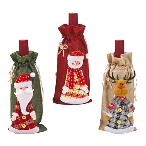 SOIMISS 3 Stücke Weihnachten Weinflaschen Abdeckung Flasche Kleidung Geschenktaschen Weinflaschen Beutel Taschen Tischdeko für Whisky Champagner Abendessen Xmas Party Favors Zufällig