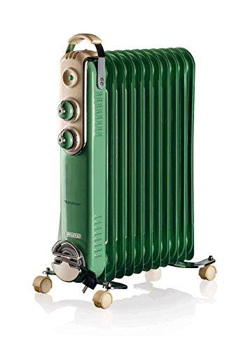 Ariete 839, Radiatore a olio Vintage, 11 elementi riscaldanti, 3 livelli di potenza, Maniglia per facile trasporto, max 2500 Watt, Verde